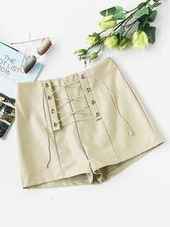 Lace Up Grommet PU Shorts