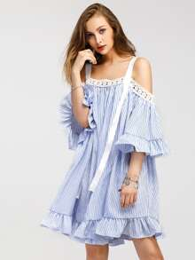 Contrast Lace Vertical Striped Frill Trim Ribbon Detail Dress