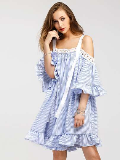 Contrast Lace Vertical Striped Frill Trim Ribbon Detail Dress