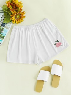 Rose Embroidered Legging Shorts