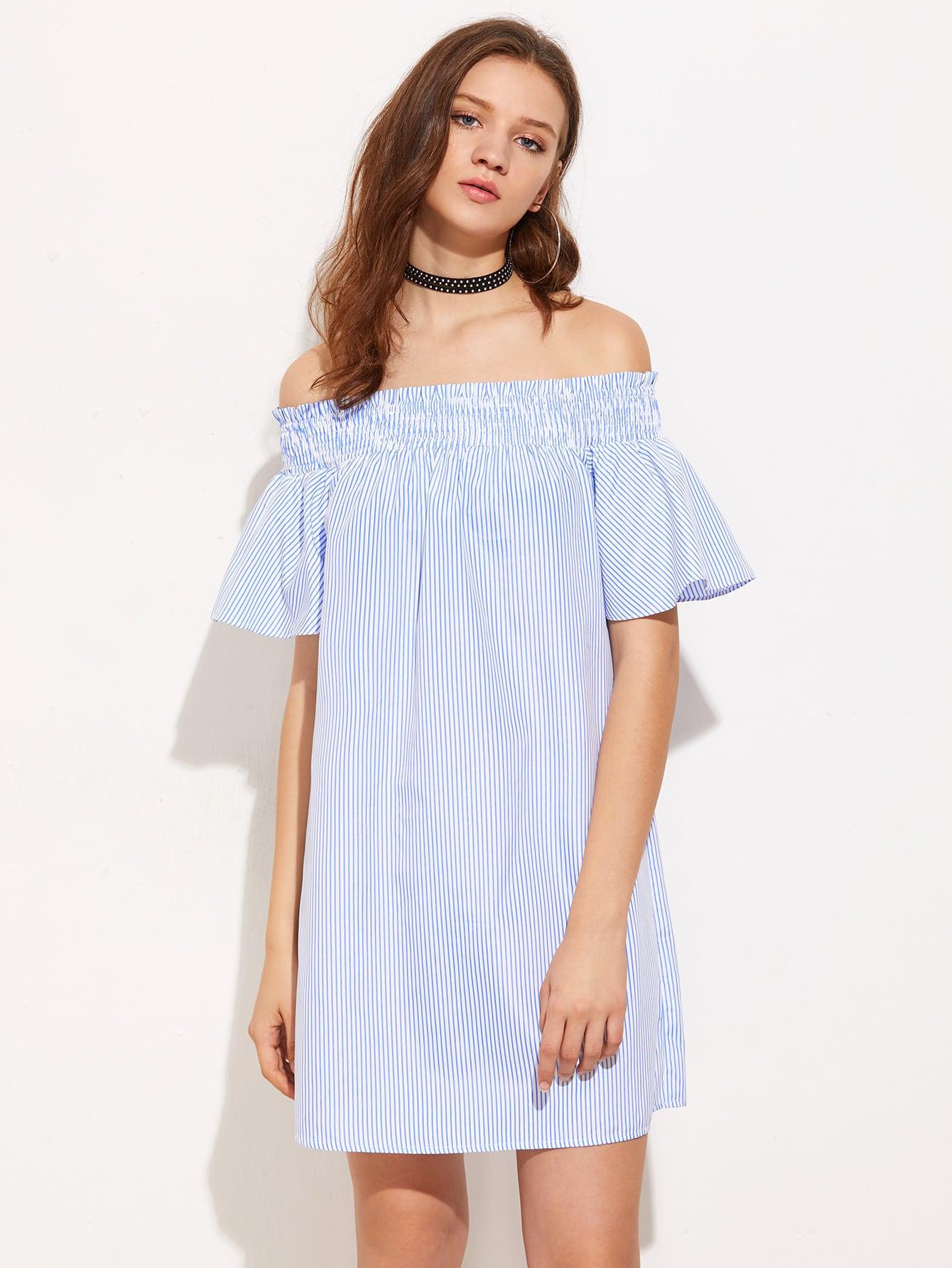 Фото Smocked Off Shoulder Bell Sleeve Pinstripe Dress. Купить с доставкой