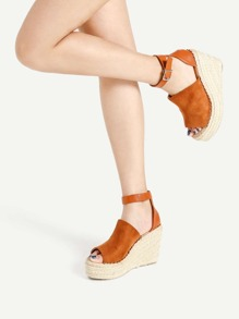 Open Toe Knöchelriemen gewebte Wedges