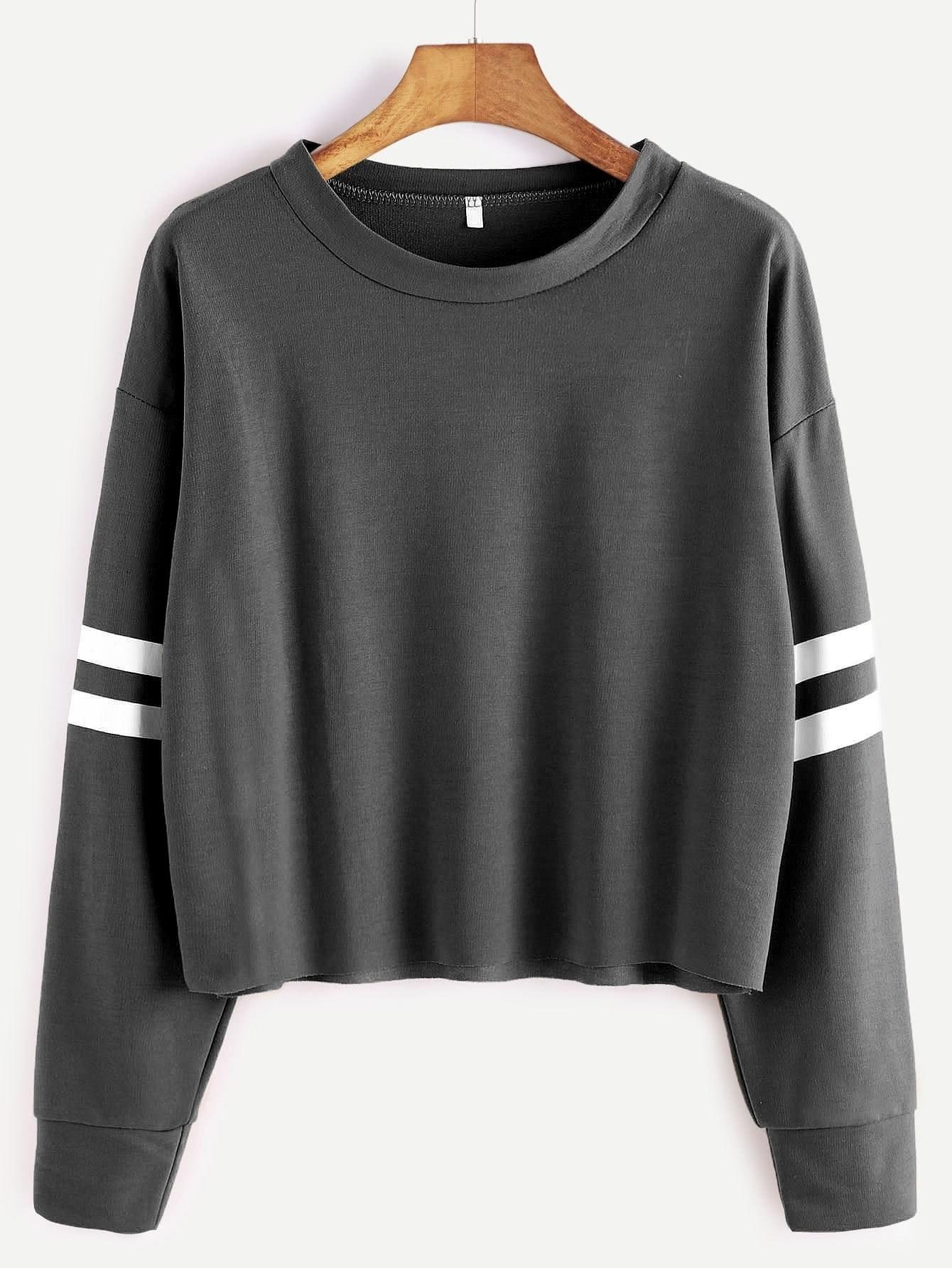 Deep Grey Drop Shoulder Varsity Striped Crop T-shirt drop shoulder water color crop sweatshirt