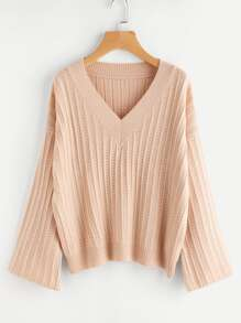 Mixed Knit Fluted Sleeve Jumper