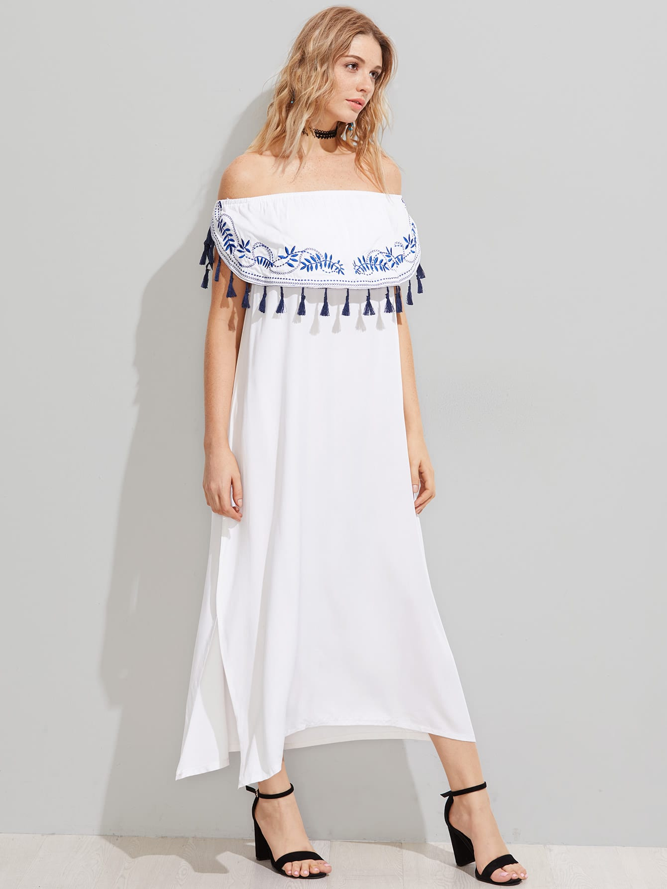 Фото Flounce Layered Tassel Trim Embroidered Split Dress. Купить с доставкой