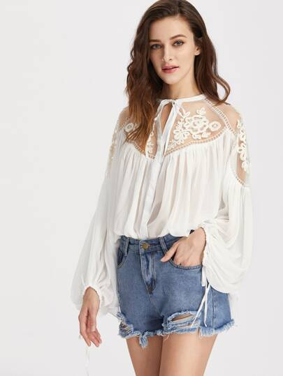 Tie Front Applique Mesh Shoulder Lantern Sleeve Crinkle Top