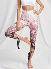 Cherry Blossom Print Wrap Tie Leggings