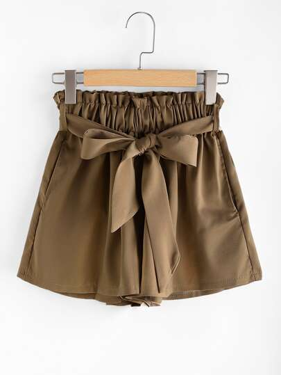 Shirred Waist Self Tie Shorts