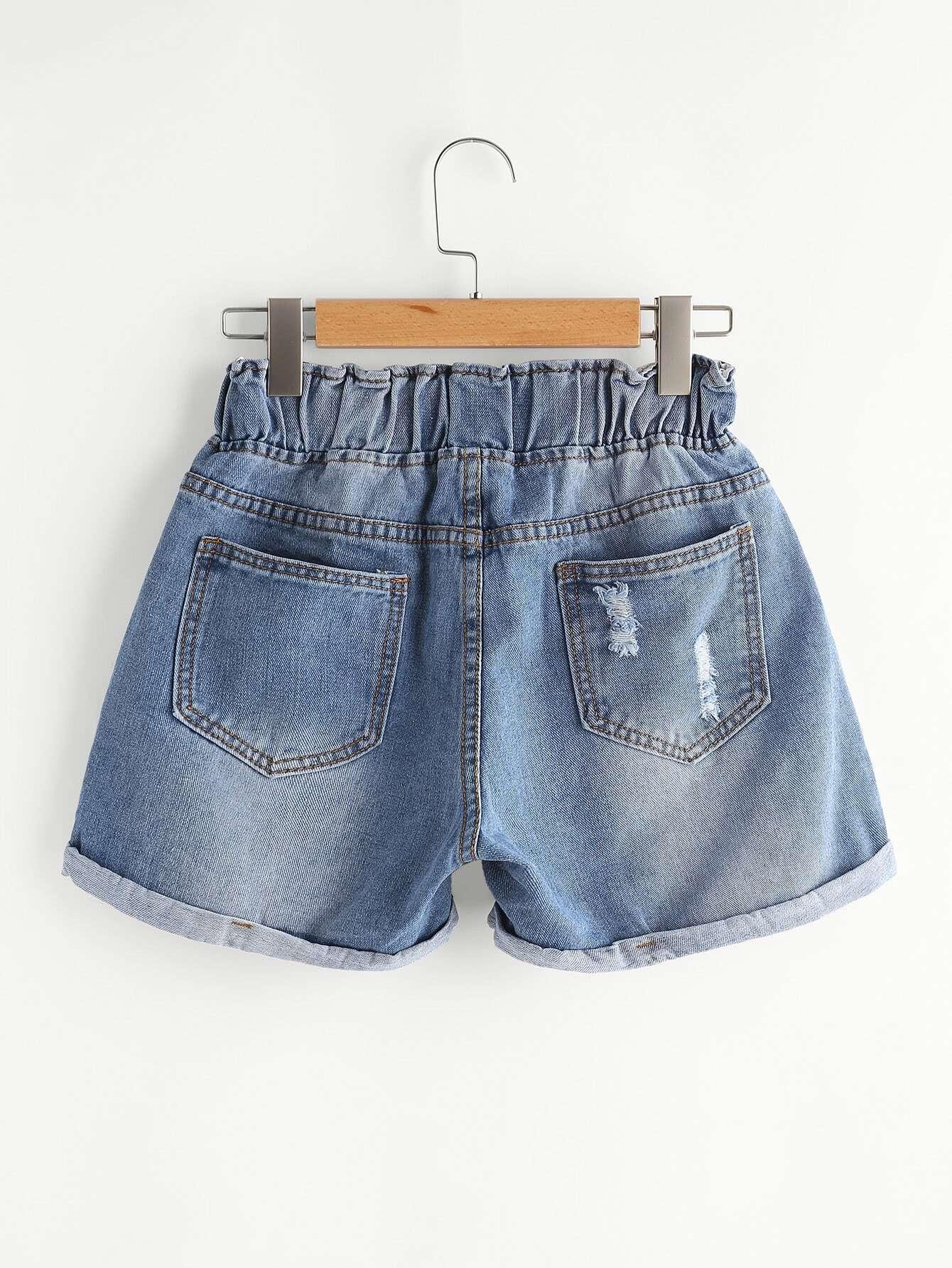 Distress Drawstring Waist Cuffed Denim Shorts