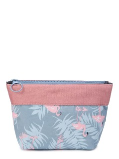 Flamingo And Leaf Print Makeup Bag