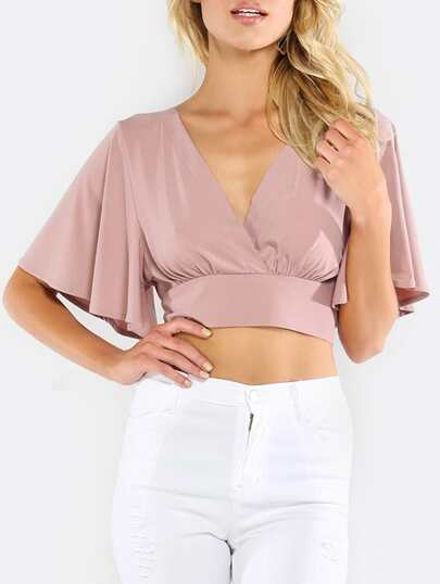 Plunging V-Neckline Bow Tie Back Blouse