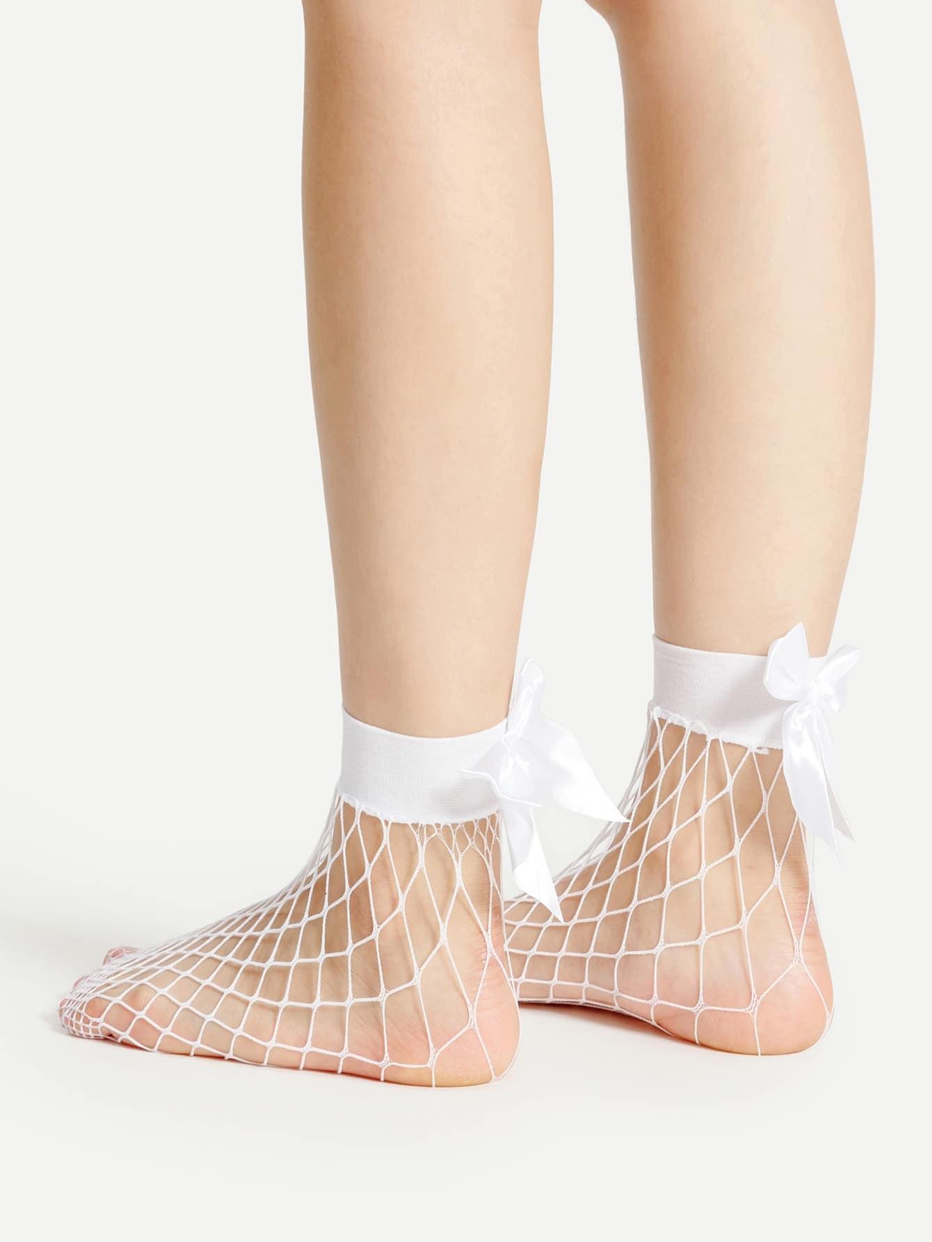 Ribbon Bow Fishnet Ankle Socks fishnet ankle socks