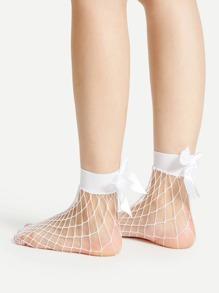 Ribbon Bow Fishnet Ankle Socks