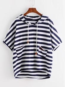 T-Shirt mit Streifen,asymmetrischem Saum und Kapuzen-Tunnelzug