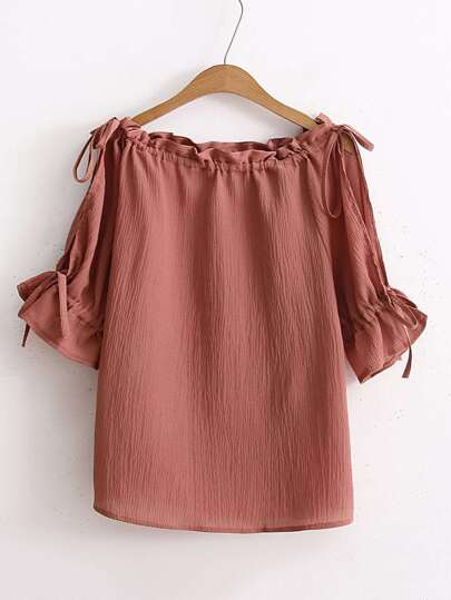 Drawstring Neck And Sleeve Textured Top
