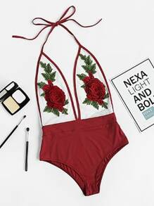3D Rose Applique Backless Plunging Halter Bodysuit