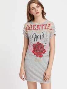 Slash Shoulder Graphic Print Heathered Tee Dress