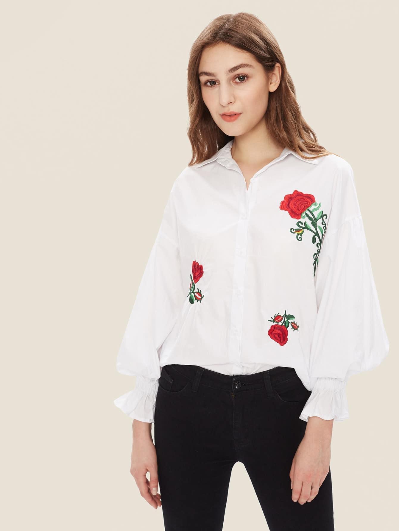 Фото Flower Embroidery Shirt Dress. Купить с доставкой