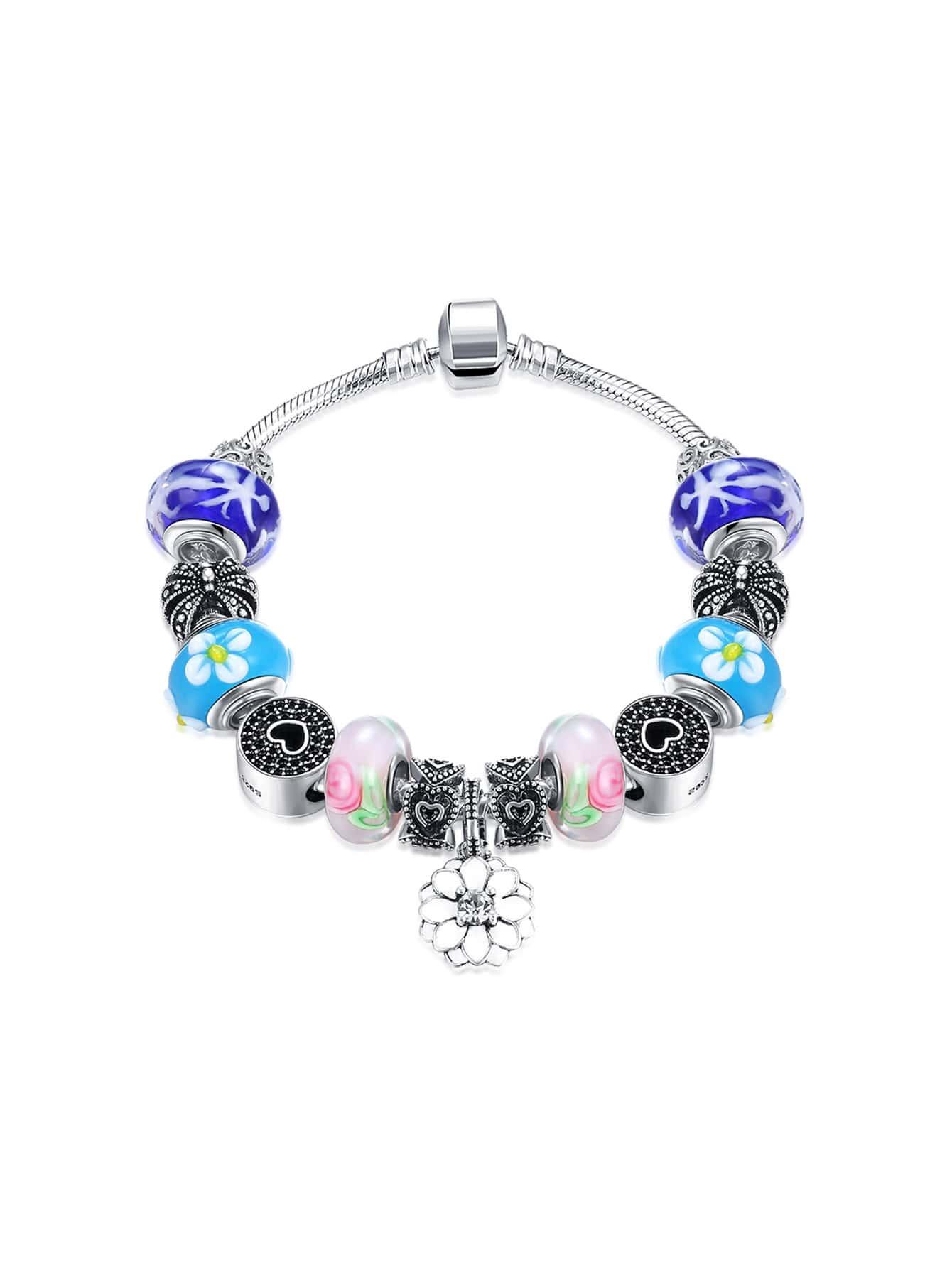 Фото Metal Lotus And Heart Detail Bracelet. Купить с доставкой