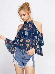 Random Foliage Print Open Shoulder Frill Layered Top