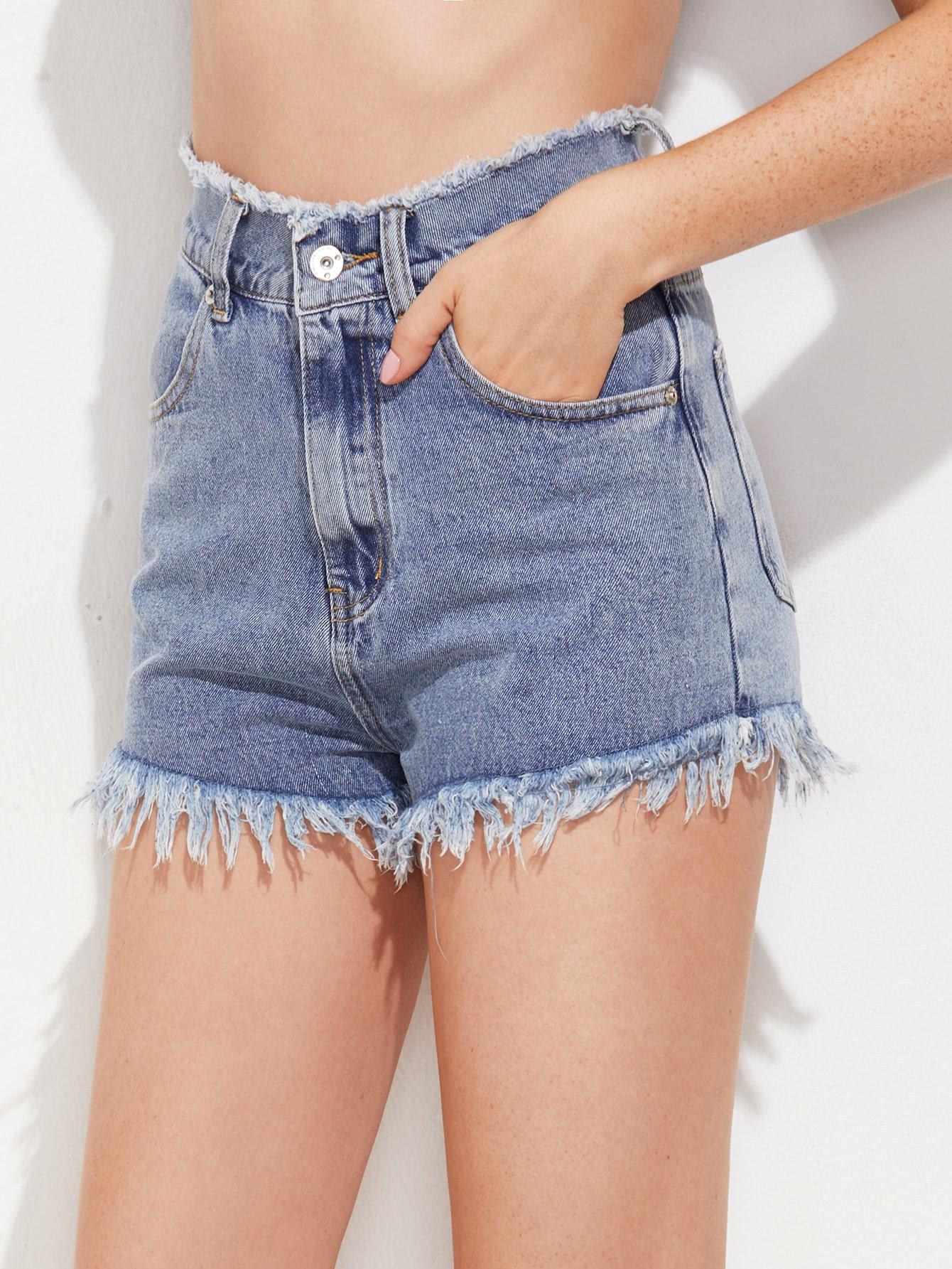 Фото Frayed Waist And Hem Denim Shorts. Купить с доставкой