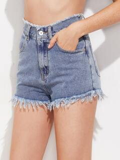 Frayed Waist And Hem Denim Shorts