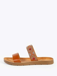 Beaded Double Band Slip Ons CHESTNUT