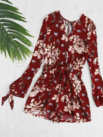 Split Sleeve And Back Surplice Wrap Floral Romper