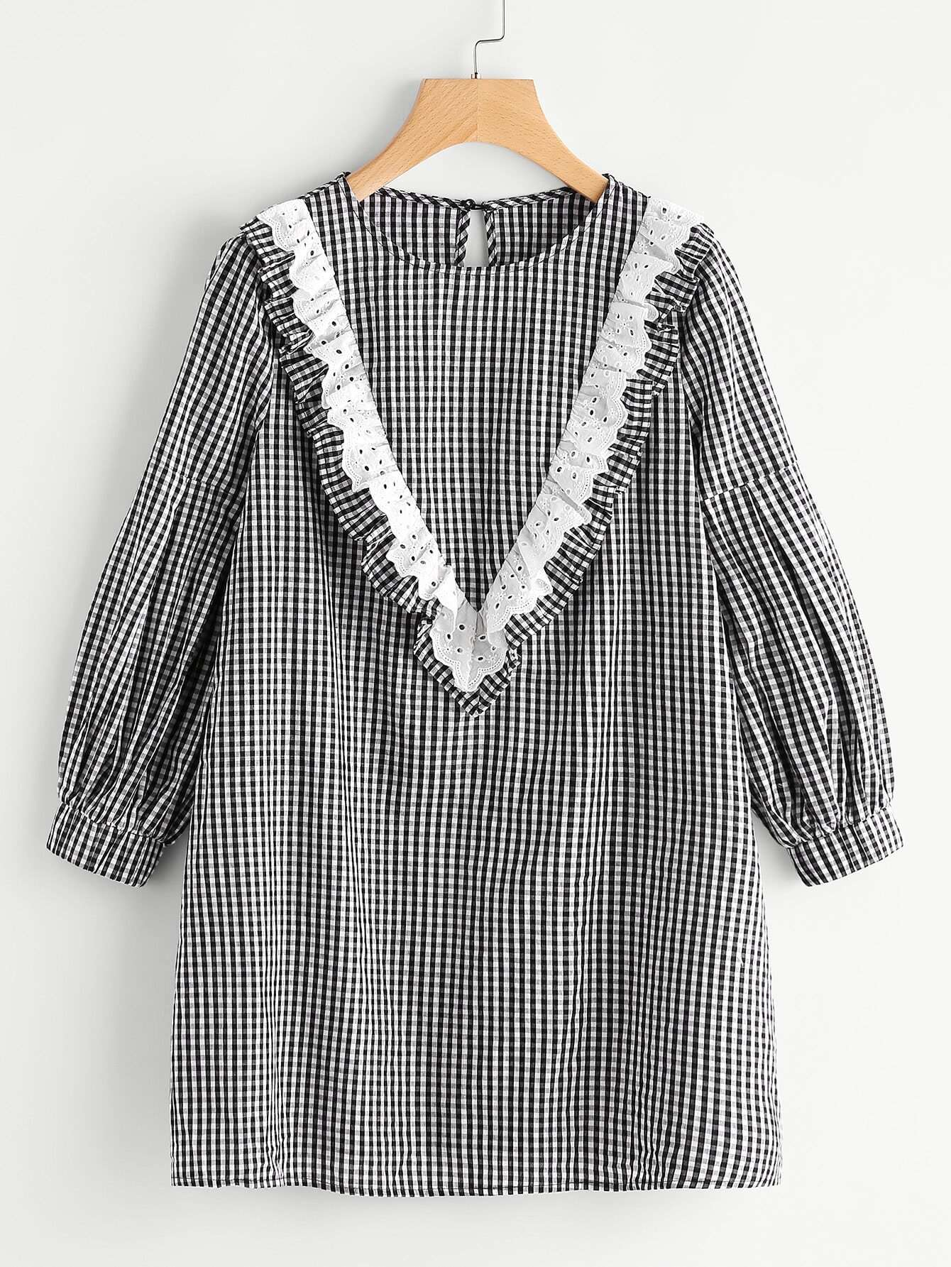 Eyelet Embroidered Ruffle Yoke Bishop Sleeve Gingham Dress свитшот print bar gnar