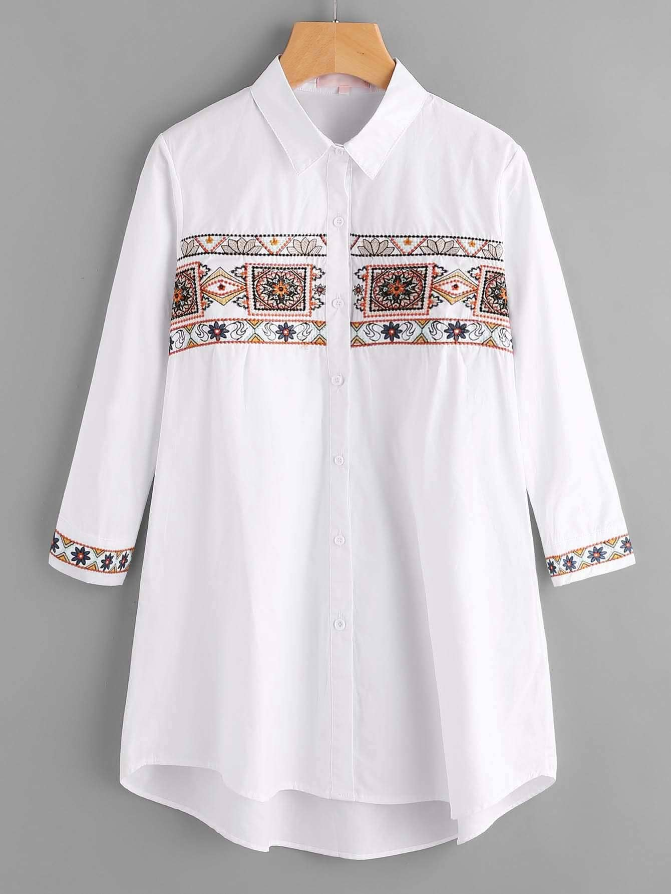 Фото Tribal Embroidery Single Breasted Blouse. Купить с доставкой