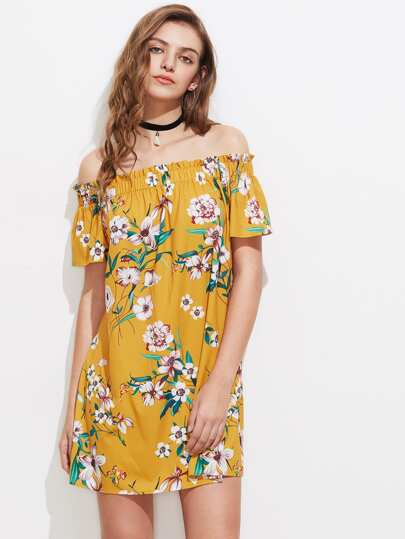 Botanical Print Frill Off Shoulder Dress