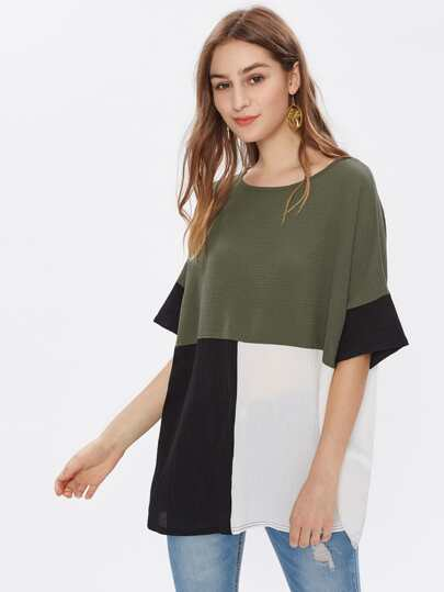 Blusa holgado en color block