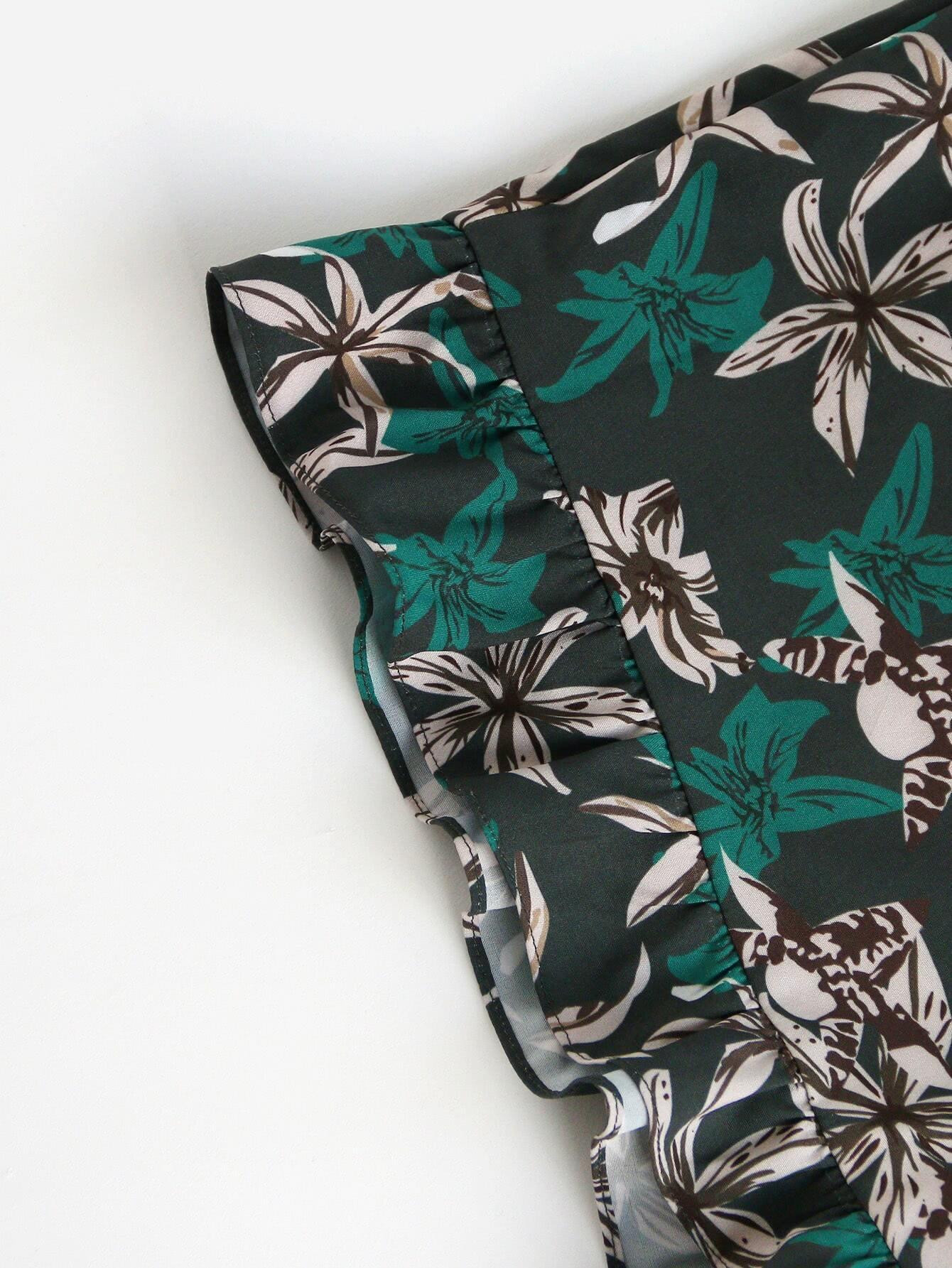 Zip Side Frilled Hem Floral Shorts