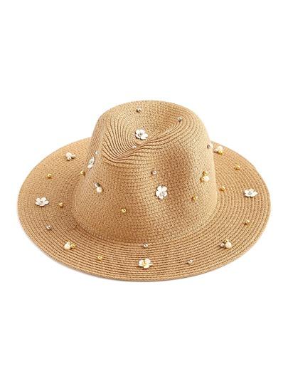 Rivet And Flower Embellished Straw Hat
