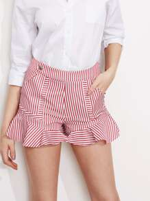 Frill Hem Buttoned Strap Patch Pocket Shorts