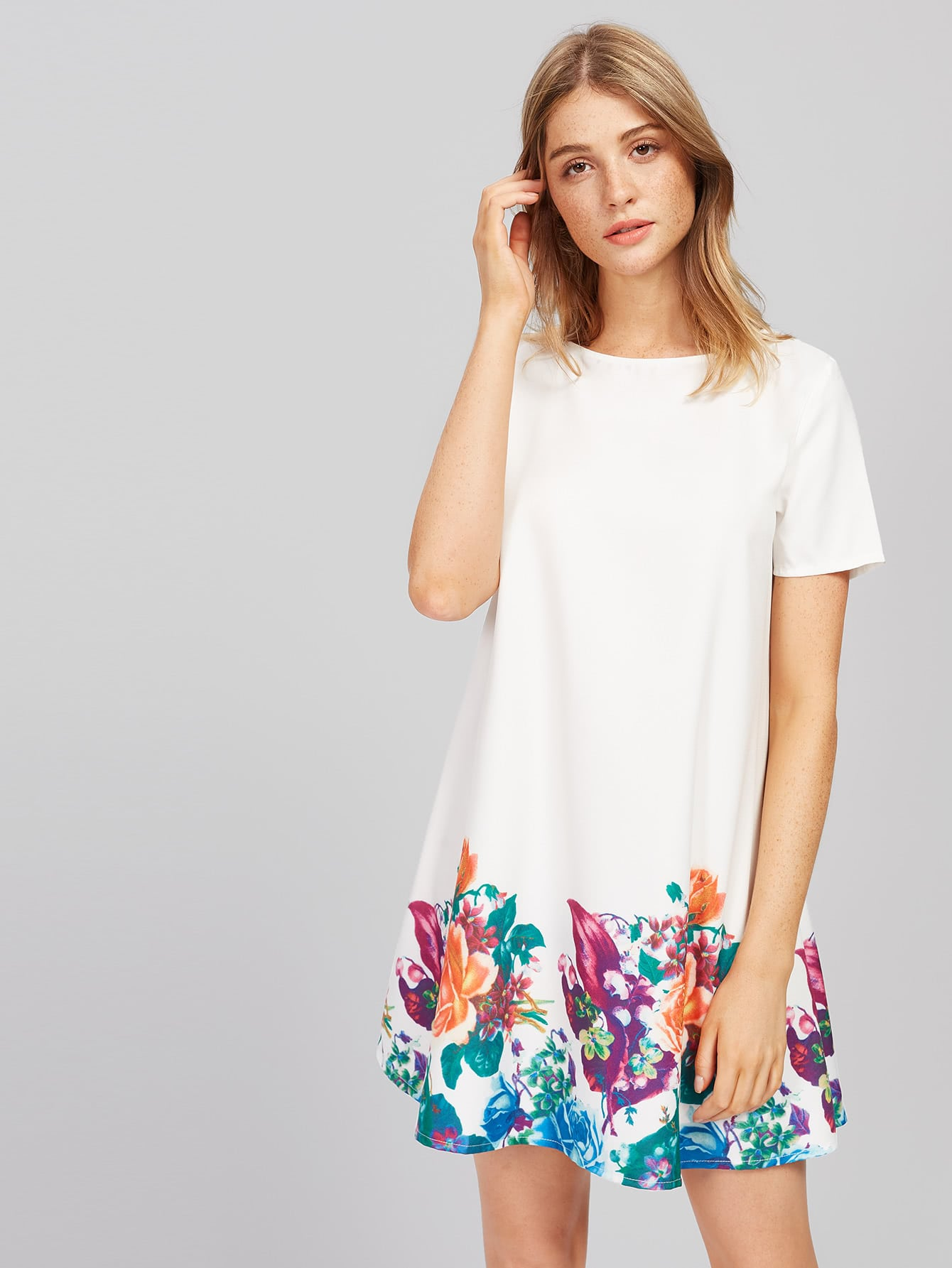 Фото Flower Print Short Sleeve Dress. Купить с доставкой