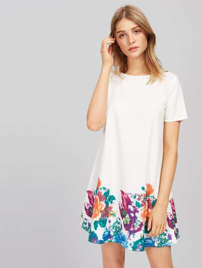 Flower Print Short Sleeve Dress