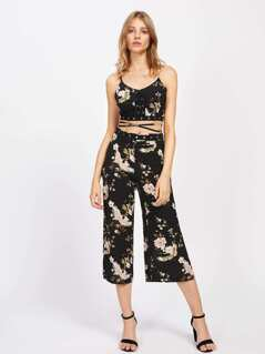 Lace Up Waist Cami Top With Wide Leg Pants