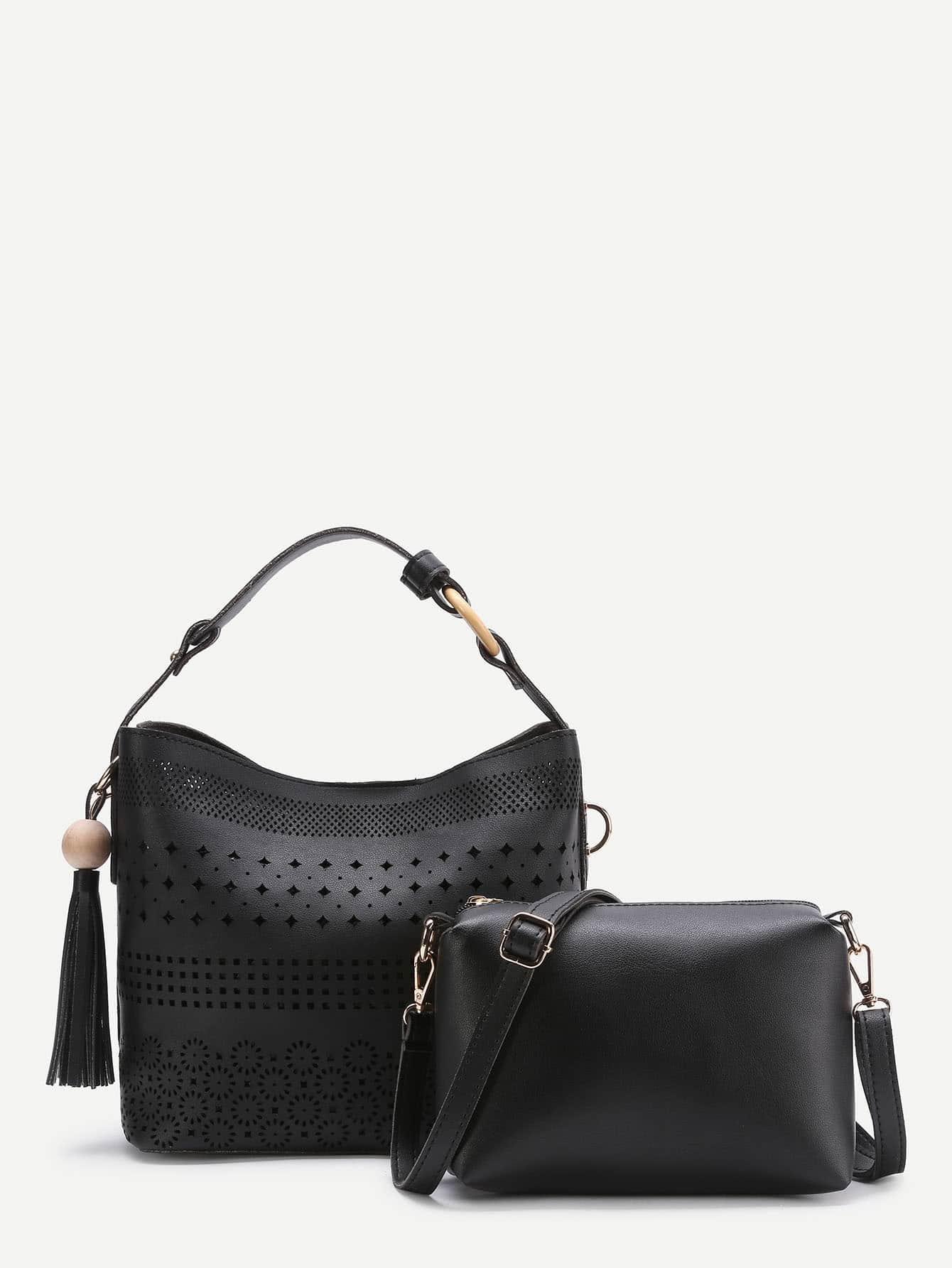 Фото Tassel Detail Laser Cut Shoulder Bag With Clutch. Купить с доставкой