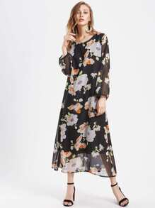 Allover Calico Print Dress
