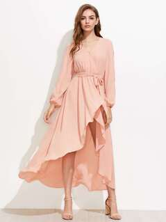 Split Sleeve Surplice Wrap Dress