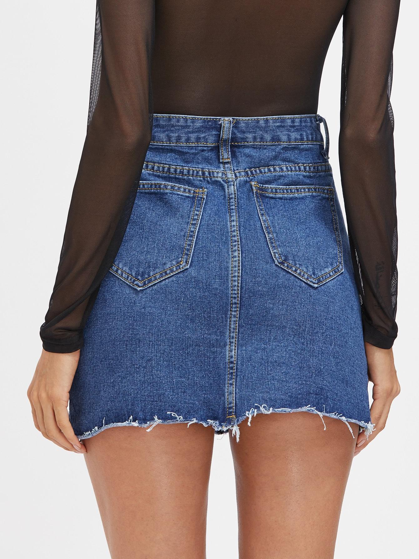 jupe en jeans avec garniture d chir french shein sheinside. Black Bedroom Furniture Sets. Home Design Ideas