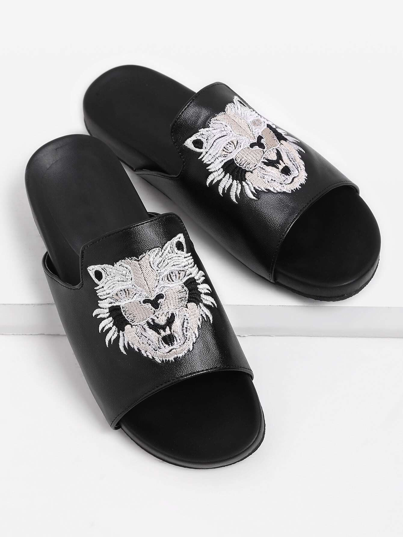Фото Tiger Embroidery PU Flat Slippers. Купить с доставкой