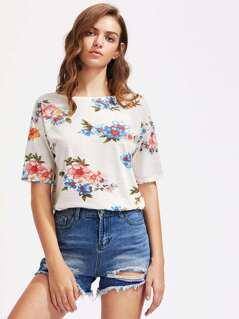 Flower Cluster Print Slub T-shirt