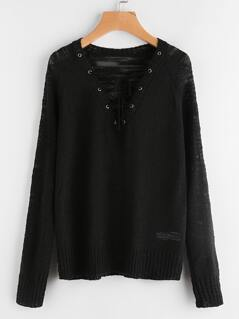 Grommet Lace Up Loose Knit Jumper