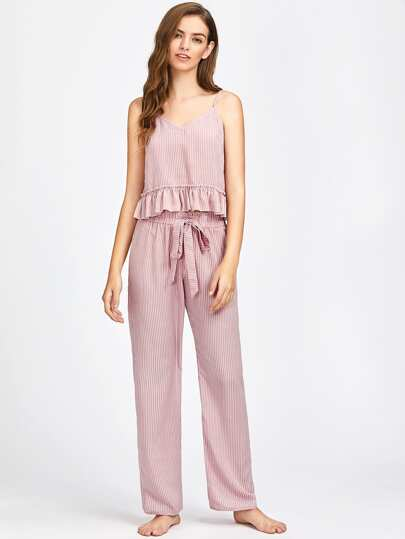 Frill Trim Striped Cami And Belted Pants Pajama Set