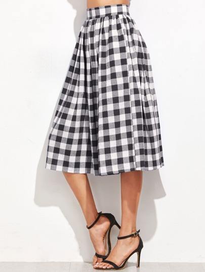 Hidden Pocket Detail Pleated Checkered Skirt