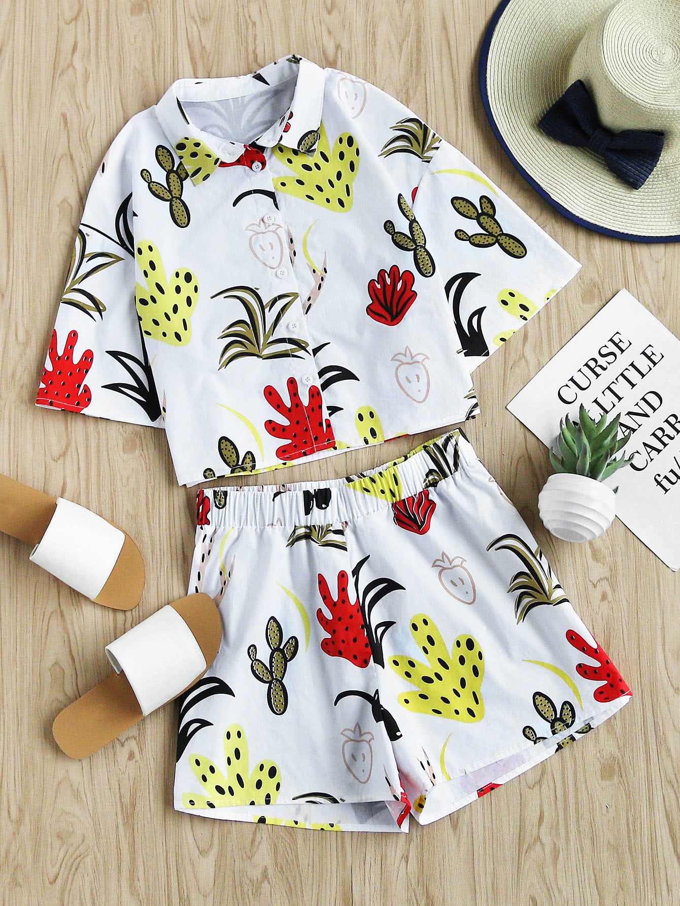Фото Drop Shoulder Lovely Print Shirt And Shorts Co-Ord. Купить с доставкой