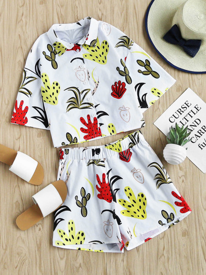 Drop Shoulder Lovely Print Shirt And Shorts Co-Ord