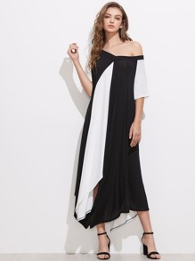 Color Block Double V Hanky Hem Dress